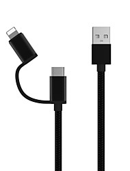 cheap -Lightning / Type-C Cable 1.0m(3Ft) All-In-1 / Braided Nylon USB Cable Adapter For Samsung / Huawei / Xiaomi