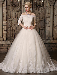 cheap -Ball Gown Off Shoulder Chapel Train Lace / Tulle 3/4 Length Sleeve Made-To-Measure Wedding Dresses with Appliques / Lace 2020