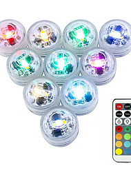 cheap -10pcs 3 W Submersible Lights Underwater Lights Waterproof  Remote Controlled  Dimmable Change 1.2 V Suitable for Vases & Aquariums 3 LED Beads