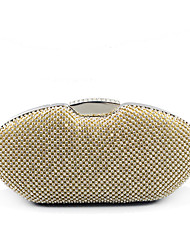 cheap -Women's Bags Alloy Evening Bag Glitter Crystals Solid Color for Wedding / Party / Event / Party Gold / Silver / Rhinestone Crystal Evening Bags