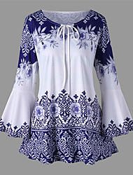 cheap -Women's Plus Size Blouse Shirt Floral Graphic Prints Long Sleeve Print Knotted Round Neck Tops Elegant Basic Top Black Blue Purple