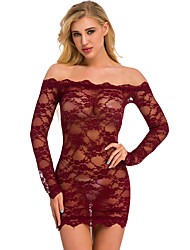 cheap -Women's Lace Plus Size Sexy Chemises & Gowns Nightwear Jacquard Wine White Black S M L / Off Shoulder