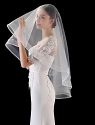 cheap -One-tier Simple / Vintage Wedding Veil Fingertip Veils with Solid 55.12 in (140cm) Tulle / Drop Veil