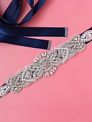 cheap -Satin / Tulle Wedding / Party / Evening Sash With Imitation Pearl / Crystals / Rhinestones / Paillette Women's Sashes