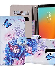 cheap -Case For Samsung Galaxy J8 (2018) / J7 (2017) / J7 (2018) Wallet / Card Holder / with Stand Full Body Cases Butterfly / Flower Hard PU Leather