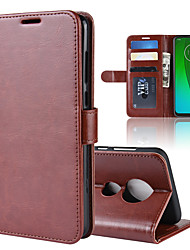 Недорогие -Кейс для Назначение Motorola MOTO G6 / Moto G6 Play / Moto G6 Plus Кошелек / Бумажник для карт / Флип Чехол Однотонный Твердый Кожа PU