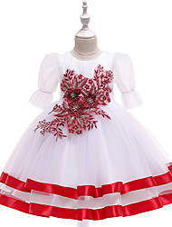 cheap -Kids Toddler Girls' Active Cute Plants Floral Color Block Bow Layered Pleated Half Sleeve Midi Dress Red