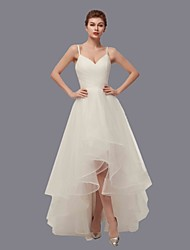 cheap -A-Line V Neck Asymmetrical Tulle Spaghetti Strap Made-To-Measure Wedding Dresses with Side-Draped 2020