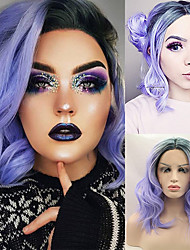 cheap -Synthetic Wig / Synthetic Lace Front Wig Curly / Wavy Jenner Style Middle Part Lace Front Wig Blue Sky Blue Synthetic Hair 14inch Women's Classic / Synthetic / Color Gradient Blue Wig Short Cosplay