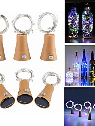 cheap -1m Cork Fairy String Lights Wine Bottle Lamp 10 LEDs SMD 0603 Cold White Festival Party Decorative Solar Powered 6pcs