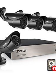 Недорогие -Zosi 4ch Full HD 1080p видеорегистратор безопасности комплект с 1080 P HD Открытый атмосферостойкий видеонаблюдения ИК-система видеокамера 1 ТБ HDD предварительно установлен