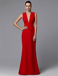 cheap -Sheath / Column Elegant Formal Evening Dress Plunging Neck Sleeveless Sweep / Brush Train Chiffon with Bow(s) 2020