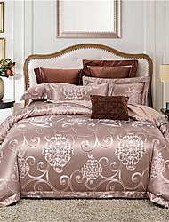 cheap -Duvet Cover Sets Solid Colored / Luxury Cotton Jacquard 4 PieceBedding Sets