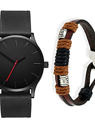 cheap -Men's Dress Watch Quartz Gift Set Leather Black / Brown No Chronograph Cute New Design Analog New Arrival Minimalist - Black / Brown Brown Black / White One Year Battery Life