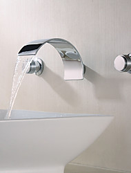 cheap -Bathroom Sink Faucet - Waterfall Chrome Wall Mounted Two Handles Three HolesBath Taps