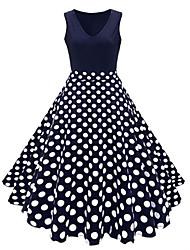 cheap -Women's Plus Size Vintage 1950s A Line Dress - Polka Dot Floral Print V Neck Summer Cotton Navy Blue Rainbow Royal Blue XXXL XXXXL XXXXXL