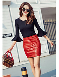 cheap -Women's Street chic Mini Bodycon Skirts - Solid Colored Patchwork Fuchsia Red Black S M L / Slim