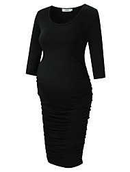 cheap -Women's Knee-length Maternity Black Dress Basic Bodycon Sheath Solid Colored L
