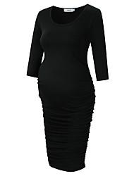 cheap -Women's Maternity Basic Knee-length Bodycon Sheath Dress - Solid Colored Black L