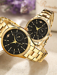 cheap -Couple's Steel Band Watches Quartz Stainless Steel Gold 30 m Water Resistant / Waterproof Creative Casual Watch Analog Casual Fashion - White Black One Year Battery Life