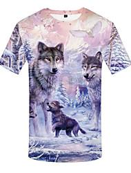 cheap -Men's Plus Size 3D Graphic Print T-shirt Basic Daily Wear Round Neck White / Short Sleeve / Animal