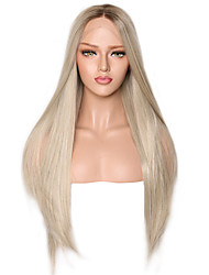 cheap -Synthetic Lace Front Wig Straight Middle Part Lace Front Wig Ombre Long Ombre Color Synthetic Hair 18-24 inch Women's Adjustable Heat Resistant Party Silver Ombre