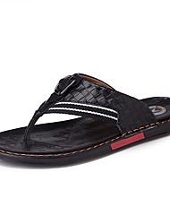cheap -Men's Comfort Shoes Cowhide Summer Casual Slippers & Flip-Flops Breathable Black / White