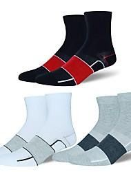 cheap -Compression Socks Athletic Sports Socks Cycling Socks Men's Yoga Running Hiking Bike / Cycling Anatomic Design Protective 1 Pair Cotton Spandex Chinlon Black White Gray L-XL / Stretchy