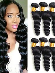 cheap -6 Bundles Peruvian Hair Loose Wave Unprocessed Human Hair 100% Remy Hair Weave Bundles Headpiece Natural Color Hair Weaves / Hair Bulk Bundle Hair 8-28 inch Natural Color Human Hair Weaves Odor Free