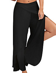 cheap -Women's Yoga Pants Pants / Trousers Breathable Quick Dry White Black Burgundy Cotton Running Fitness Sports Activewear Micro-elastic Loose