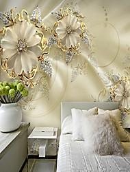 cheap -3D Gold Flower Diamond Modern Bling Wall Mural Wallpaper Living Room Bedroom
