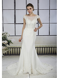 cheap -Mermaid / Trumpet Bateau Neck Court Train Lace / Tulle Cap Sleeve Mordern Backless Made-To-Measure Wedding Dresses with Appliques / Lace 2020