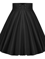 cheap -Women's Vintage Cotton Swing Skirts - Solid Colored Black Navy Blue S M L