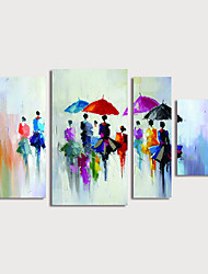 cheap -Oil Painting Hand Painted - Landscape Modern Stretched Canvas / Four Panels