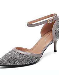 cheap -Women's PU(Polyurethane) Spring &  Fall Sweet / Minimalism Heels Low Heel Pointed Toe Buckle Gray / Almond / Color Block