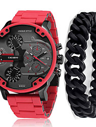 cheap -Men's Sport Watch Japanese Quartz Gift Set Silicone Red 30 m Calendar / date / day Chronograph Cute Analog New Arrival Fashion - Red Two Years Battery Life / Large Dial