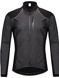 cheap -WOSAWE Men's Cycling Jacket Bike Tracksuit Top Fleece Lining Breathable Sweat-wicking Sports Spandex Fleece Winter Black Mountain Bike MTB Clothing Apparel Relaxed Fit Bike Wear / High Elasticity