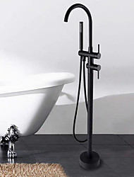 cheap -Bathtub Faucet / Shower Faucet - Contemporary Black Floor Mounted Bath Shower Mixer Taps with Handheld Shower