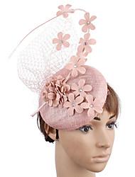 cheap -Net / Linen / Cotton Blend Fascinators / Flowers / Headdress with Feather / Floral / Net 1 Wedding / Party / Evening Headpiece
