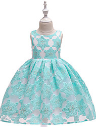 cheap -Kids Toddler Girls' Active Cute Color Block Snowflake Christmas Lace Cut Out Bow Sleeveless Knee-length Dress Wine
