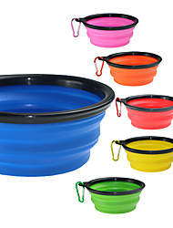 cheap -Dogs Cats Pets Bowls & Water Bottles / Food Storage 0.35 L Silica Gel Portable Outdoor Travel Solid Colored Green Blue Pink Bowls & Feeding