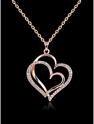 cheap -Women's Pendant Necklace Classic Pave Heart Basic Fashion Classic Zircon Gold Plated Chrome Rose Gold 45 cm Necklace Jewelry 1pc For Daily Work