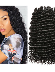 cheap -4 Bundles Malaysian Hair Deep Wave 100% Remy Hair Weave Bundles Natural Color Hair Weaves / Hair Bulk One Pack Solution Human Hair Extensions 8-28inch Natural Color Human Hair Weaves Waterfall Odor