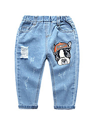 cheap -Kids Boys' Basic Street chic Print Hole Ripped Cotton Jeans Light Blue