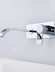 cheap -Bathroom Sink Faucet - Waterfall Chrome Wall Mounted Single Handle Two HolesBath Taps / Brass