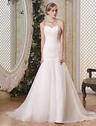 cheap -Mermaid / Trumpet Sweetheart Neckline Court Train Tulle Strapless Formal Illusion Detail Wedding Dresses with Side-Draped 2020
