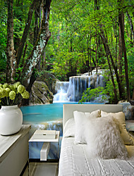 cheap -Mural Wallpaper Wall Sticker Covering Print Adhesive Required Landscape Forest Waterfall Tropical Canvas Home Décor