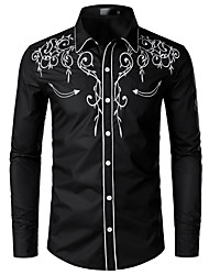 cheap -Men's EU / US Size Shirt - Solid Colored Embroidered Classic Collar Black