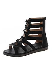 cheap -Women's Sandals Flat Heel Bowknot PU Casual Summer Black / Yellow / Beige