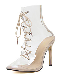 cheap -Women's Boots Transparent Shoes Stiletto Heel Pointed Toe Synthetics Mid-Calf Boots Sweet / Minimalism Fall / Spring & Summer White / Party & Evening / Party & Evening